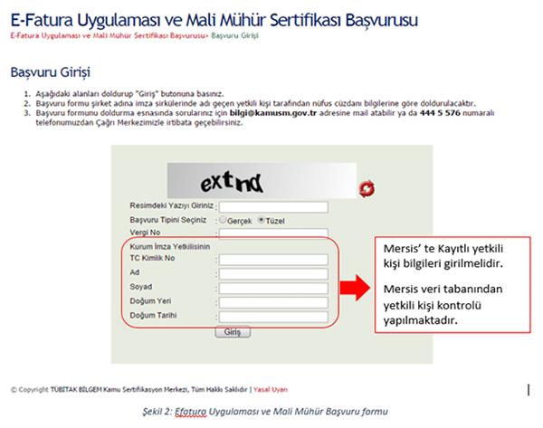 E-fatura Uygulaması ile Mali Mühüre Birlikte Başvuru